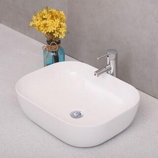 Costway Ceramic Vessel Sink Modern Bathroom Basin Porcelain Bowl Vanity