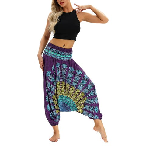 Peacock Harem Bloomers Yoga Pants Casual Hippie Boho Pants Trousers