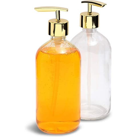 2pcs 16oz Clear Glass Kitchen Bathroom Hand Soap Dispenser Bottle (Gold Pump) - Gold