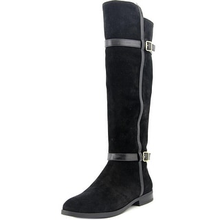 INC International Concepts Ameliee 2 Women Round Toe Suede Black Knee High Boot