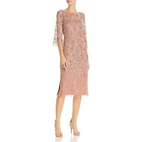 Aidan Mattox Womens Cocktail Dress Beaded Mesh - Rose Pink