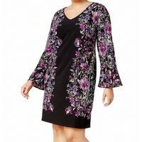 INC Purple Black Womens Size 3X Plus Bell Sleeve Shift Dress