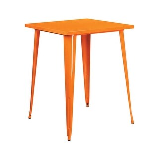 Offex 31.5'' Square Bar Height Orange Metal Indoor-Outdoor Table