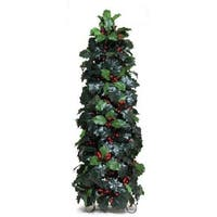Pack of 2 Green Conical Artificial Holly with Berries Tabletop Decorations 28""