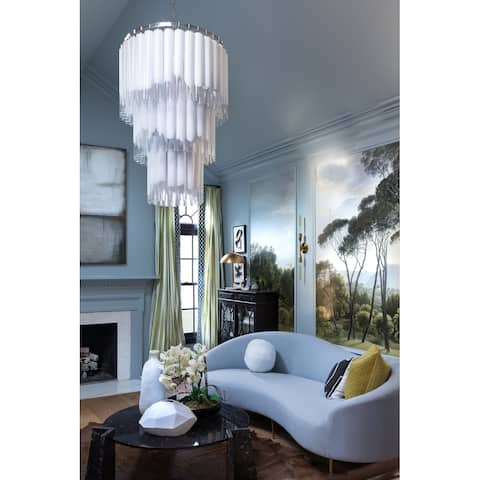 Hudson Valley Tyrell 16-light Polished Nickel Pendant, Opal White, Clear Glass Shade
