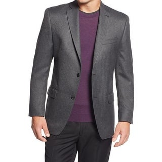 MICHAEL Michael Kors Mens Two-Button Blazer Herringbone Notch Lapel