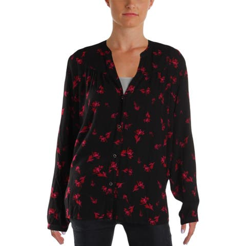 4Our Dreamers Womens Button-Down Top Bishop Sleeves Floral Print