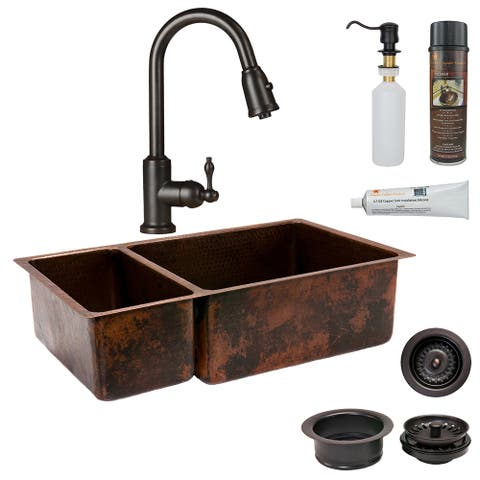 Premier Copper Products KSP2_K25DB33199 Kitchen Sink, Pull Down Faucet and Accessories Package