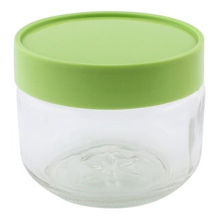 Unique Bargains Household Kitchen Glass Food Sugar Seal Canister Storage Container Green 450ML