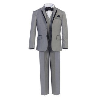 Boys Gray Bow-Tie Vest 5 Pcs Wedding Special Occasion Tuxedo Suit