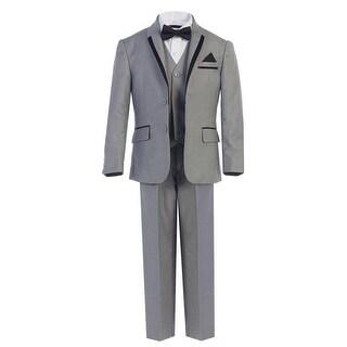 Little Boys Gray Bow-Tie Vest 5 Pcs Wedding Special Occasion Tuxedo Suit