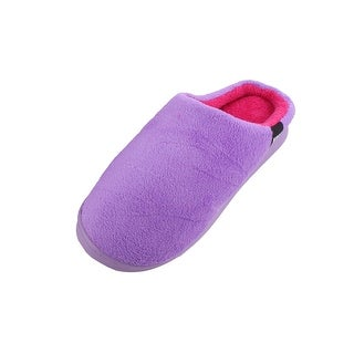 Home Coral Fleece Lady Feet Protector Warm Winter Slippers Purple Pair US 9.5
