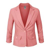 NE PEOPLE Womens 3/4 Scrunched Sleeve One Button Blazer [NEWJ114]