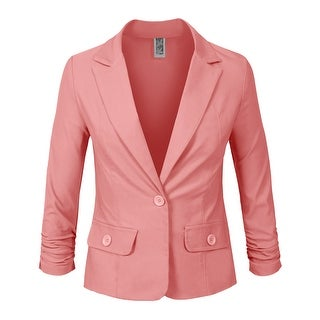 NE PEOPLE Womens 3/4 Scrunched Sleeve One Button Blazer [NEWJ114]
