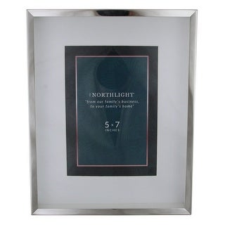 "10"" Modern Look Rectangular 5"" x 7"" Photo Picture Frame - Silver and Clear - 5-inchx7-inch"