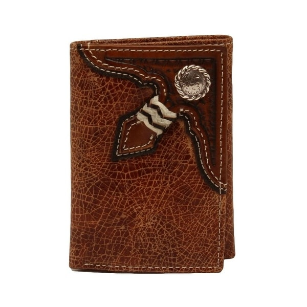 Nocona Western Wallet Mens Leather Trifold Round Concho Tan - One size