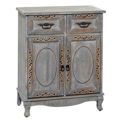 "Grey Distressed 2-Door Wood Carved Cabinet With 2-Drawers And Black Metal Fixtures 27"" X 33"" - 27 x 14 x 33"
