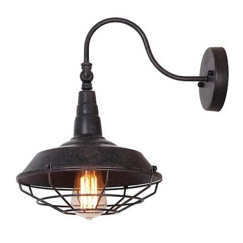 Rustic wire cage gooseneck wall sconce, vintge industrial wall light fixture with Oil Rubbed color - Rust