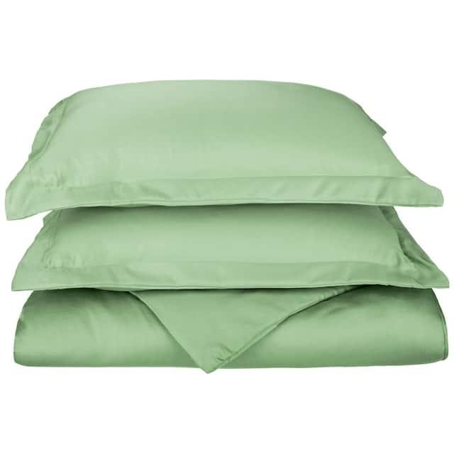 Miranda Haus 600-Thread Count Cotton Solid Hemstitch Duvet Cover Set - Sage - King - Cal King