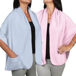 Women's Fleece Pocket Shawl Set Of Two - Light Blue And Light Pink - One size