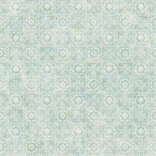 Brewster DLR54652 Shell Bay Teal Scallop Damask Wallpaper