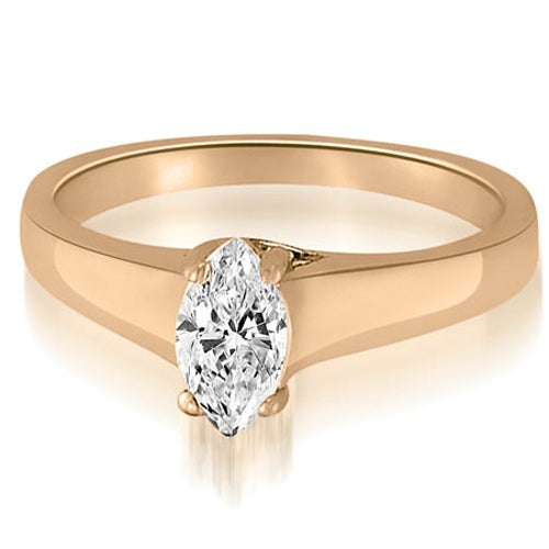 0.75 cttw. 14K Rose Gold Trellis Solitaire Marquise Diamond Engagement Ring