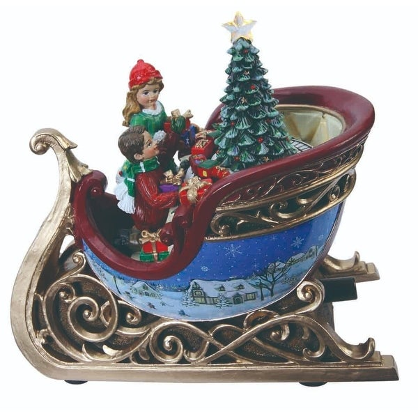 """Set of 2 Musical LED Sleighs with Joyful Children and Presents Table Decor 7.3"""""""