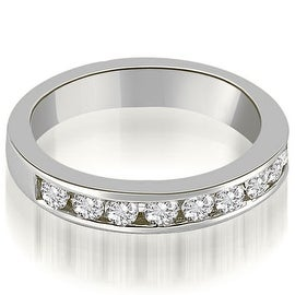 1.00 cttw. 14K White Gold Classic Channel Set Round Cut Diamond Wedding Ring