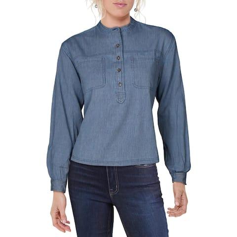 Lucky Brand Womens Edie T-Shirt Cotton Striped - Bright Blue