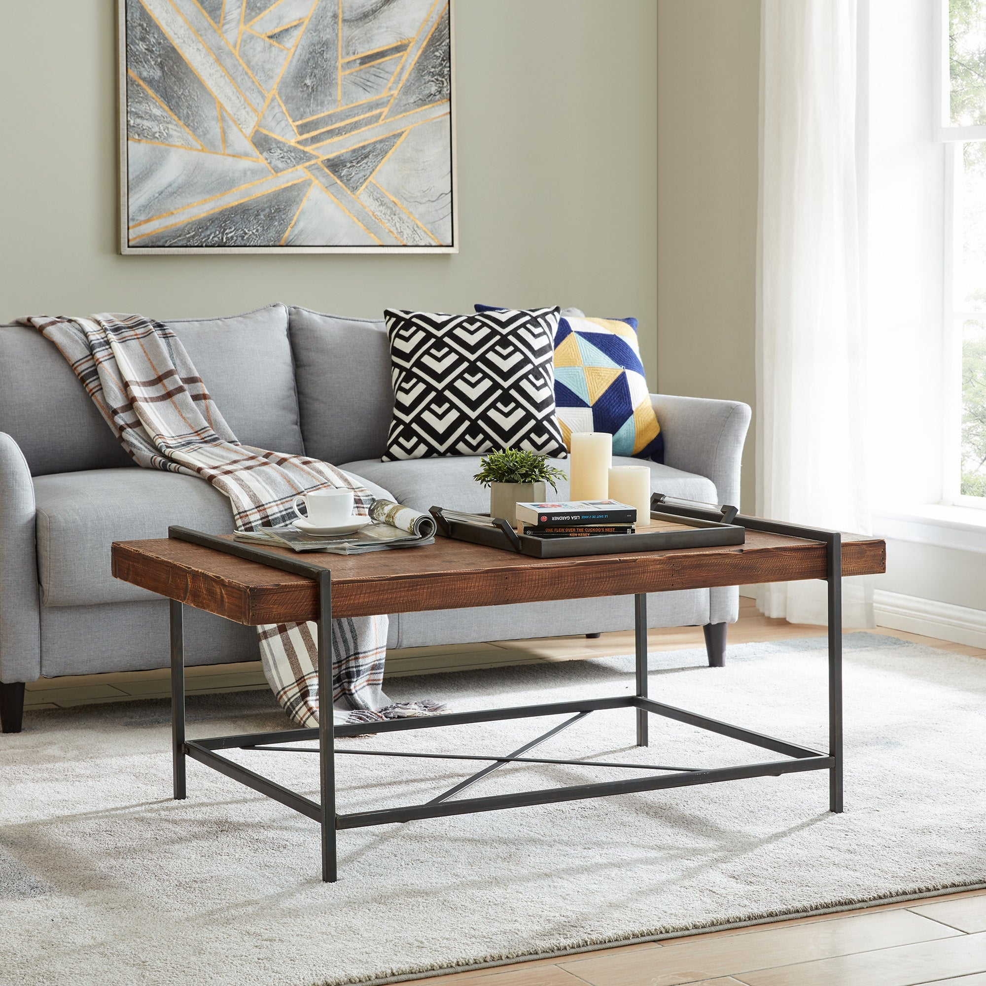 Firstime Co Cullen Rustic Farmhouse Coffee Table American Crafted Weathered Brown Fir Wood 47 X 25 X 20 In Overstock 31804912