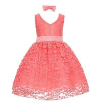 Baby Girls Coral Rose Floral Lace Overlay Beaded Waist Occasion Dress 3-24M