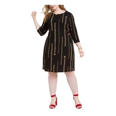 TOMMY HILFIGER Black 3/4 Sleeve Knee Length Sheath Dress Size 16W
