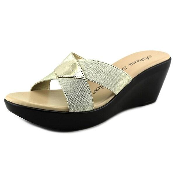 Athena Alexander Benadet Women Open Toe Synthetic Gold Slides Sandal
