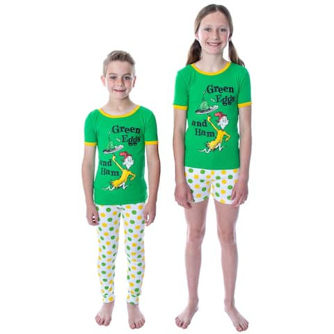 Dr. Seuss Unisex Kids Green Eggs and Ham Shirt Shorts and Pants 3 Piece Pajama Set For Boys and Girls