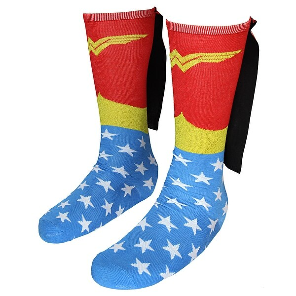 ef9e49b940c Shop DC Comics Wonder Woman Knee High Shiny Caped Socks - Free Shipping On  Orders Over  45 - Overstock - 22310437