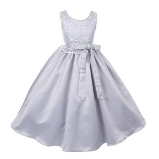 Good Girl Girls Silver Lace Overlay Satin Sash Junior Bridesmaid Dress