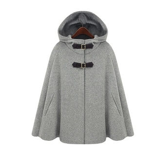 Women  Wool Cape  Coat  Hooded Double Breasted Warm  Coat