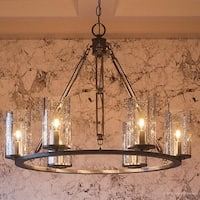 "Luxury Industrial Chandelier, 20""H x 25""W, with Western Style, Rectangular Link Design, Estate Bronze Finish"