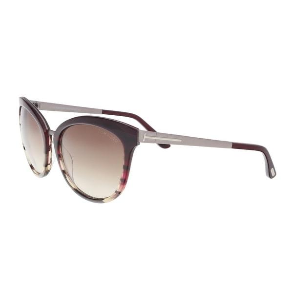 831e09070d Shop Tom Ford FT0461 S 71F Emma Plum Brown Cat Eye Sunglasses - 56 ...