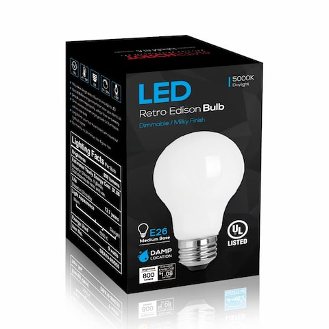 2 Pack LED Dimmable A19 Light Bulb, 9W, 5000K Daylight, Milky - 120V