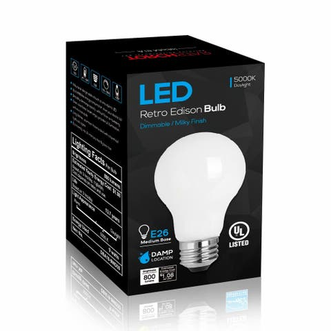 6 Pack LED Dimmable A19 Light Bulb, 9W, 5000K Daylight - 800 Lm