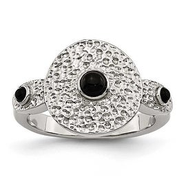 Chisel Stainless Steel Polished and Textured Black Onyx Ring