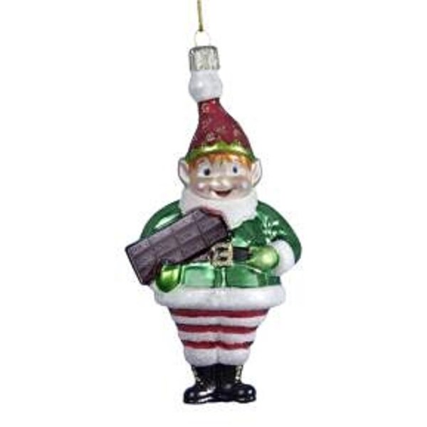 "5"" Glass Elf with Hershey's Chocolate Bar Christmas Ornament - multi"