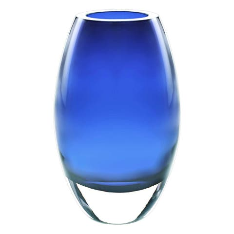 """9"""" Mouth Blown Crystal European Made Midnight Blue Crystal Vase"""