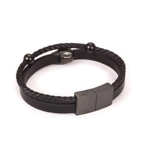 Black Leather Rebel Bracelet