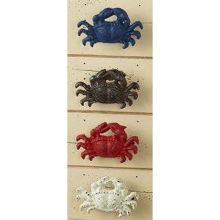 Blue Red White and Brown Distressed Crab Knobs Drawer Pulls Set of 4 Cast Iron