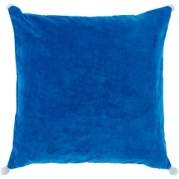 "18"" Velvet Poms Sapphire Blue Decorative Throw Pillow"