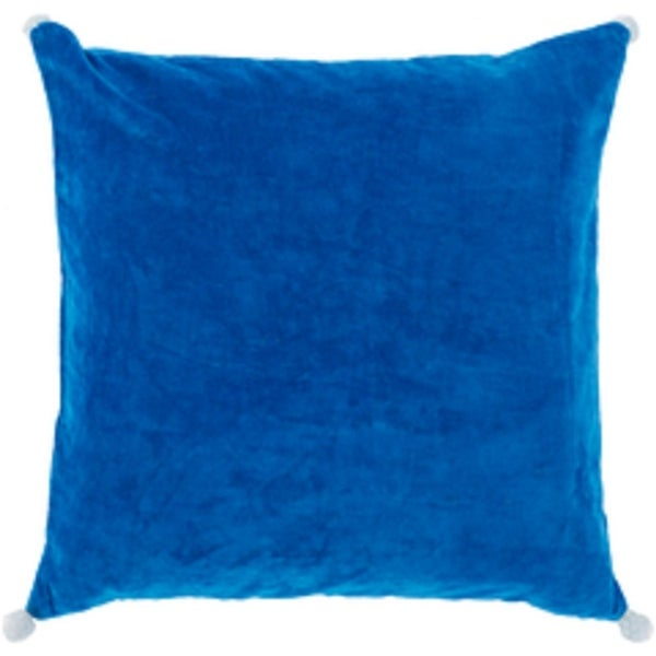 "22"" Velvet Poms Sapphire Blue Decorative Throw Pillow"