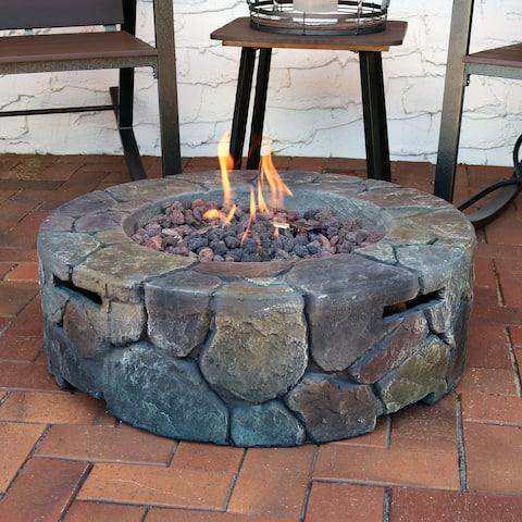 Sunnydaze Cast Stone Outdoor Propane Gas Fire Pit with Lava Rocks - 30-Inch