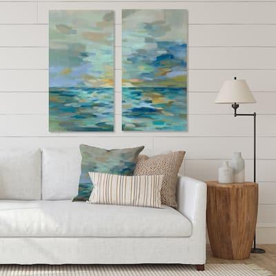 Designart 'Pastel Blue Sea' Cottage Canvas Wall Art Print 2 Piece Set